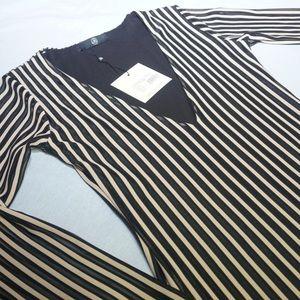 Tan and Black Low cut dress